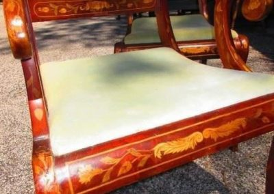 Antique French side in armchair with inlay of exotic woods and mother-of-pearl