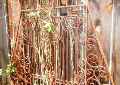 An amazing and large iron sculpture made of antique gate parts