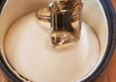 Large Citrine smoky topaz set in 14 karat gold, total weight 7.5 dwt, weigh...