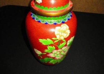 Cloisonne vase with lid