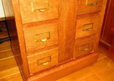 A diminutive card catalog constructive constructed of quarter-sawn oak circa 1900