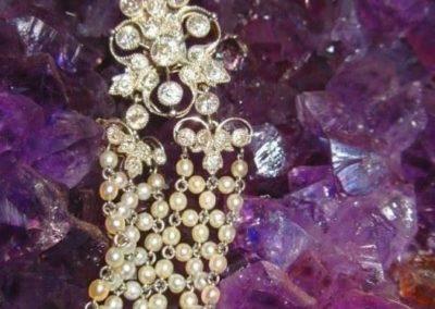 Detail of platinum diamond and pearl bracelet