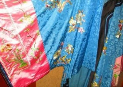 Detailed image of the front of an antique Chinese silk robe