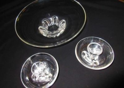 Steuben console bowl and candlesticks