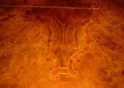 Detail of Rosewood and Burlwood veneered dining table