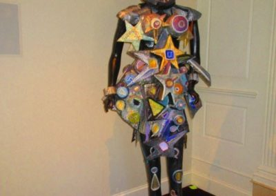 """Starlady"" by artist Susan Woldman. A seven-foot-tall sculpture in mixed media and found objects."