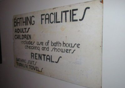 "vintage ""Bathing Facilities"" sign"