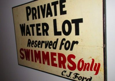 "vintage ""Private Water Lot"" sign"