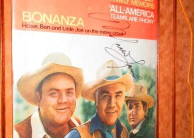 Bonanza autographed commemorative memorabilia signed by all three cast members pictured