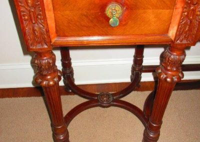 detail of 19th C. Continental sideboard with marble top