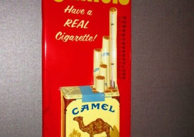 "Vintage ""Camels"" cigarette advertisement sign with thermometer"