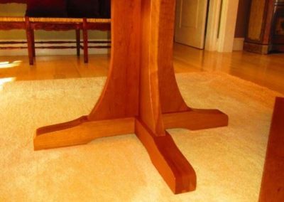Detail of Base of Custom Made Cherry Dinning Table in The Style of Mission Furniture