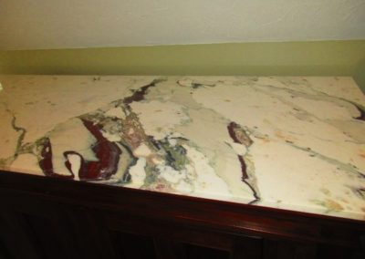 Detail of Marble on Large Cabinet with Custom Marble Top