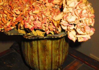 Dried Hydrangea in Metal Cache Pot