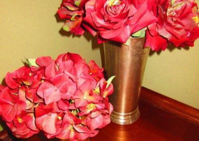Faux Flowers in SIlvered Vases