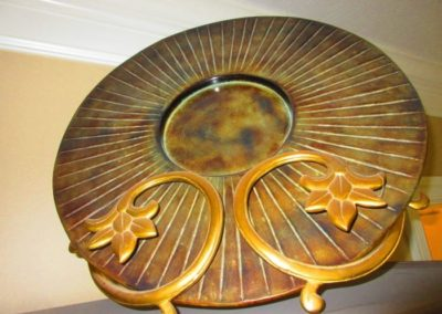 Large Copper Plate in Brass Stand