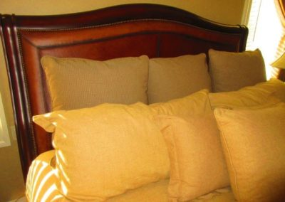 Detail of Headboard of Sleigh Bed by American Drew