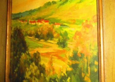 Decorative Painting of Pine Trees and Farm
